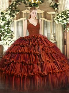 Floor Length Ball Gowns Sleeveless Rust Red 15 Quinceanera Dress Backless