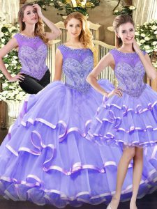 High Quality Lavender Sleeveless Beading and Ruffled Layers Floor Length Sweet 16 Dress