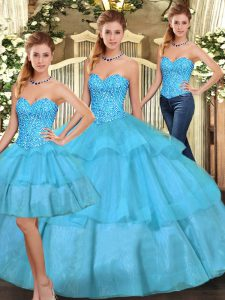 Sleeveless Beading and Ruffled Layers Lace Up Quinceanera Gown