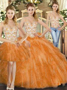Orange Red Three Pieces Straps Sleeveless Organza Floor Length Lace Up Beading and Ruffles Sweet 16 Quinceanera Dress