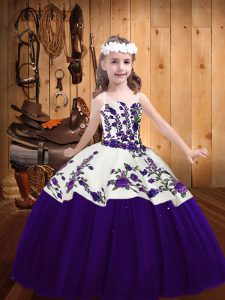 Purple Ball Gowns Straps Sleeveless Tulle Floor Length Lace Up Embroidery Little Girls Pageant Dress Wholesale