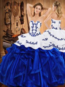 New Style Royal Blue Lace Up Strapless Embroidery and Ruffles Quinceanera Gowns Satin and Organza Sleeveless