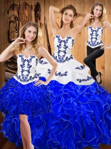 Hot Selling Blue And White Ball Gowns Embroidery and Ruffles Quinceanera Gowns Lace Up Satin and Organza Sleeveless Floor Length
