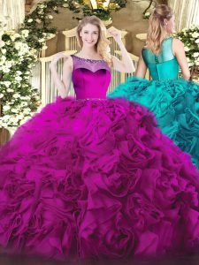 Top Selling Fuchsia Scoop Zipper Beading Ball Gown Prom Dress Sleeveless