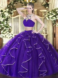 Lovely Purple Sleeveless Beading and Ruffles Floor Length Quinceanera Gowns
