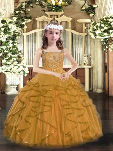 Trendy Brown Ball Gowns Tulle Straps Sleeveless Beading and Ruffles Floor Length Lace Up Little Girls Pageant Dress Wholesale