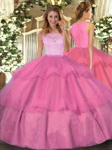 Floor Length Hot Pink Quinceanera Dress Organza Sleeveless Lace and Ruffled Layers