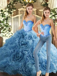 Custom Fit Baby Blue Lace Up Quinceanera Gowns Beading Sleeveless Floor Length