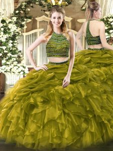 Halter Top Sleeveless Zipper Ball Gown Prom Dress Olive Green Tulle
