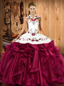 High Quality Fuchsia Quinceanera Dress Military Ball and Sweet 16 and Quinceanera with Embroidery and Ruffles Halter Top Sleeveless Lace Up