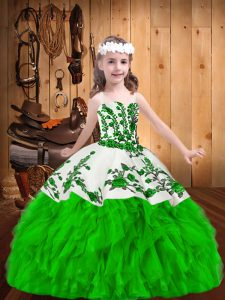 Ball Gowns Straps Sleeveless Organza Floor Length Zipper Embroidery and Ruffles Child Pageant Dress