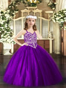 Purple Ball Gowns Beading Little Girls Pageant Dress Wholesale Lace Up Tulle Sleeveless Floor Length