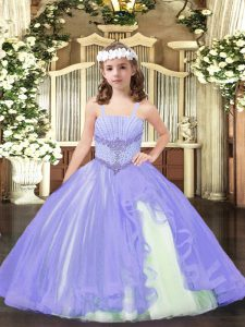 Lavender Straps Neckline Beading Pageant Gowns For Girls Sleeveless Lace Up