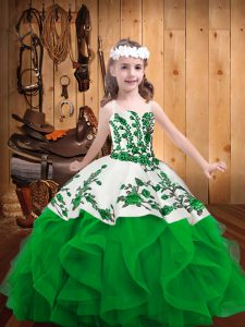 Trendy Green Organza Lace Up Pageant Gowns For Girls Sleeveless Floor Length Embroidery and Ruffles