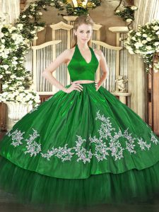 Custom Designed Halter Top Sleeveless Taffeta Quinceanera Dresses Appliques Zipper