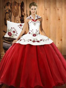Wine Red Sleeveless Floor Length Embroidery Lace Up 15 Quinceanera Dress