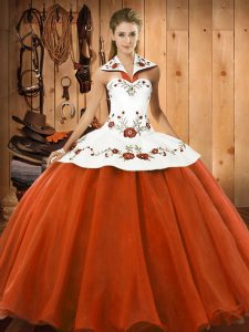Sumptuous Orange Red Satin and Tulle Lace Up Halter Top Sleeveless Floor Length 15th Birthday Dress Embroidery