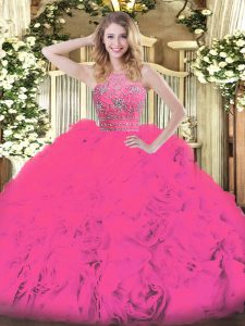 Charming Hot Pink Sleeveless Floor Length Beading and Ruffles Zipper Quinceanera Dresses