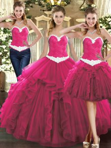 Fuchsia Sweetheart Lace Up Ruffles Sweet 16 Dresses Sleeveless