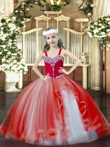 Beading Little Girls Pageant Gowns Red Lace Up Sleeveless Floor Length