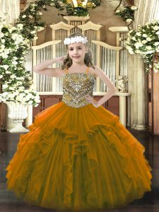 Floor Length Brown Little Girl Pageant Dress Organza Sleeveless Beading and Ruffles