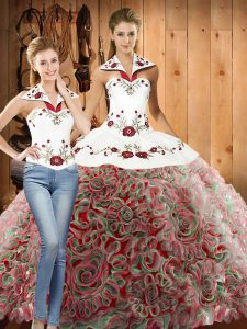 Customized Halter Top Sleeveless Quinceanera Gown Sweep Train Embroidery Multi-color Fabric With Rolling Flowers