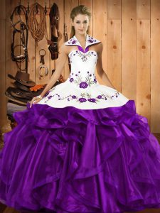 Modern Sleeveless Organza Floor Length Lace Up Quince Ball Gowns in Purple with Embroidery and Ruffles