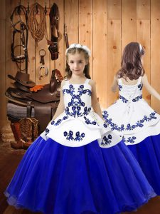 Floor Length Blue Kids Formal Wear Straps Sleeveless Lace Up