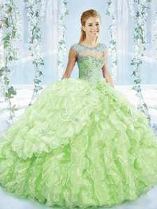 Beautiful Sleeveless Beading and Ruffles and Pick Ups Lace Up Sweet 16 Dresses with Yellow Green Brush Train