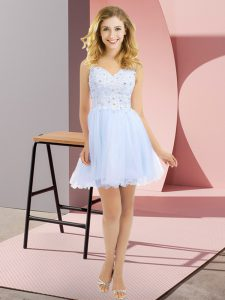Romantic Tulle V-neck Sleeveless Side Zipper Beading and Lace Dama Dress for Quinceanera in Lavender