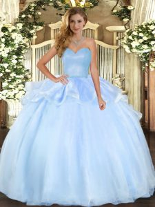 Luxury Organza Sleeveless Floor Length Vestidos de Quinceanera and Beading and Ruffles