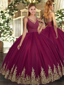 Floor Length Burgundy Sweet 16 Quinceanera Dress Tulle Sleeveless Appliques