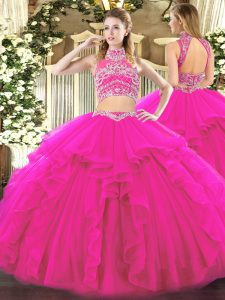 Fuchsia Backless Vestidos de Quinceanera Beading and Ruffles Sleeveless Floor Length