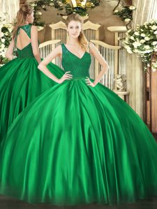Best Selling Dark Green Backless Quinceanera Gown Beading and Lace Sleeveless Floor Length