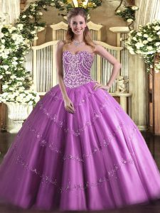 Perfect Floor Length Ball Gowns Sleeveless Lilac Quinceanera Gown Lace Up
