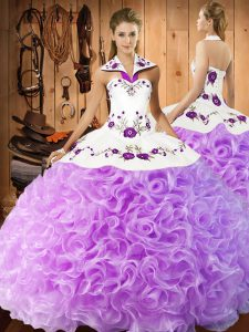 Cheap Lilac Sleeveless Floor Length Embroidery Lace Up 15 Quinceanera Dress