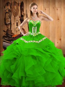 Green Satin and Organza Lace Up Sweetheart Sleeveless Floor Length 15th Birthday Dress Embroidery and Ruffles
