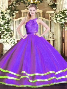 Eggplant Purple Ball Gowns Scoop Sleeveless Tulle Floor Length Zipper Lace Quince Ball Gowns