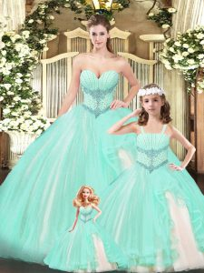 Beading 15th Birthday Dress Aqua Blue Lace Up Sleeveless Floor Length