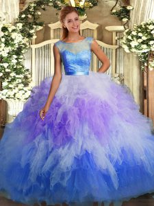 Modest Floor Length Multi-color 15 Quinceanera Dress Tulle Sleeveless Lace and Ruffles