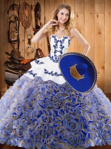 Multi-color Sleeveless Satin and Fabric With Rolling Flowers Sweep Train Lace Up Sweet 16 Dress for Military Ball and Sweet 16 and Quinceanera