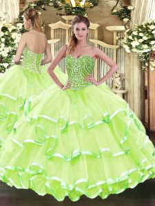 Delicate Floor Length Lace Up Ball Gown Prom Dress Yellow Green for Military Ball and Sweet 16 and Quinceanera with Beading and Ruffled Layers