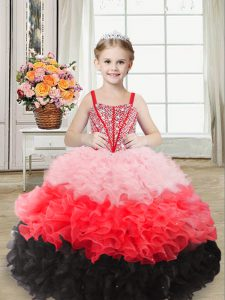 Pretty Sleeveless Floor Length Beading and Ruffles Lace Up Little Girl Pageant Gowns with Multi-color