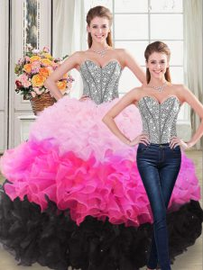 Discount Ball Gowns Quinceanera Gown Multi-color Sweetheart Organza Sleeveless Floor Length Lace Up