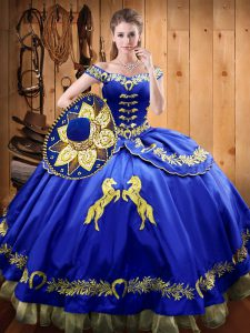 Dazzling Royal Blue Sweet 16 Quinceanera Dress Sweet 16 and Quinceanera with Beading and Embroidery Off The Shoulder Sleeveless Lace Up
