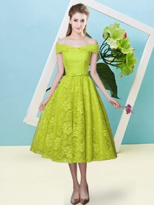 Olive Green Lace Up Court Dresses for Sweet 16 Bowknot Cap Sleeves Tea Length