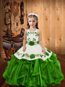 Elegant Sleeveless Lace Up Floor Length Embroidery and Ruffles Kids Pageant Dress
