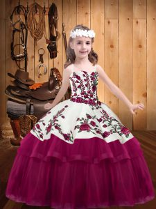 Enchanting Fuchsia Ball Gowns Straps Sleeveless Organza Floor Length Lace Up Embroidery Little Girls Pageant Dress