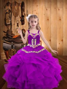 Purple Lace Up Little Girls Pageant Gowns Embroidery and Ruffles Sleeveless Floor Length