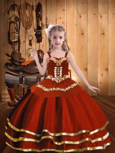 Dramatic Straps Sleeveless Kids Formal Wear Floor Length Embroidery and Ruffles Rust Red Organza